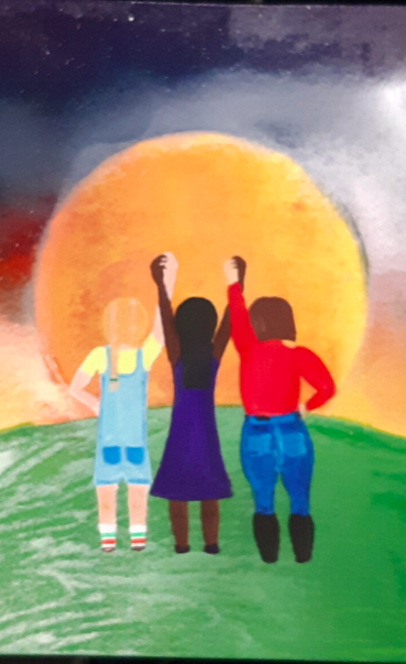 Sunset drawing with three girls of different races holding hands in unity